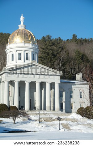Vermont's State Capitol building in Montpelier is known as the People's House. - stock photo