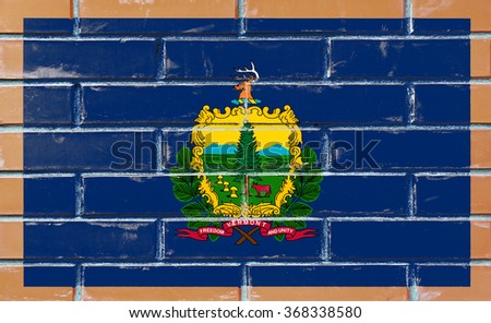 Vermont state flag of America on brick wall