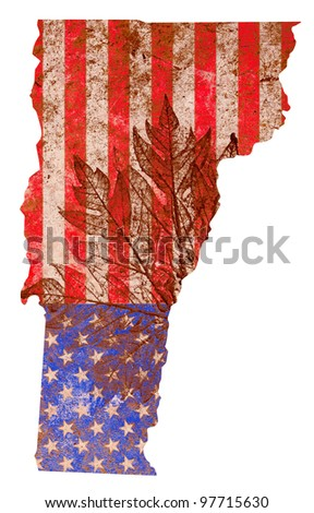 Vermont state of the United States of America in grunge flag pattern isolated on white background - stock photo