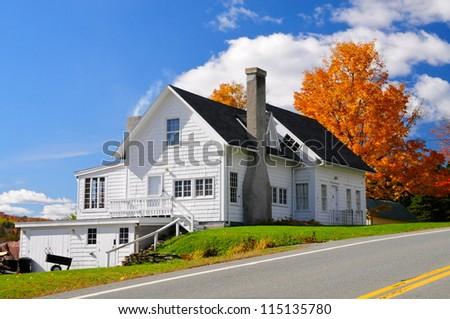 Vermont white wooden house, Morgan, USA - stock photo