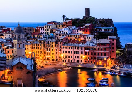 Vernazza Castle and Church at Early Morning in Cinque Terre, Italy - stock photo