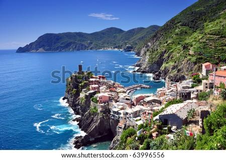 Vernazza fishermen village in Cinque Terre, Italy - stock photo