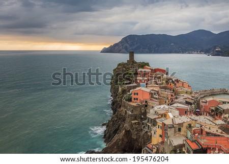 Vernazza fishermen village in Cinque Terre, unesco world heritage in Italy - stock photo