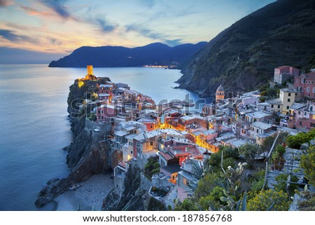 Vernazza. Image of Vernazza (Cinque Terre, Italy), during sunset. - stock photo