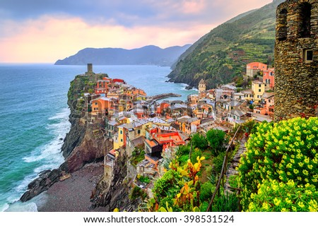 Vernazza in Cinque Terre, Liguria, Italy, on sunset - stock photo