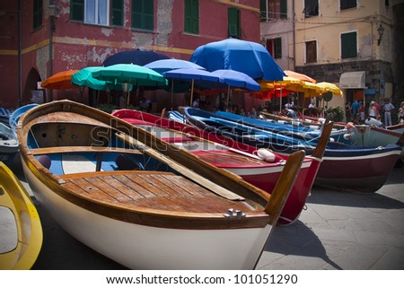 VERNAZZA, ITALY - JULY 22: Boats dry docked in the the seaside town of Vernazza in wait out rough seas on July 22, 2011. Vernazza is part of Cinque Terre. Cinque Terre is a UNESCO World Heritage Site. - stock photo