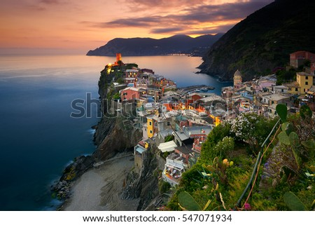 Vernazza, Italy - July 6, 2016: Vernazza is one of the five towns that make up the Cinque Terre region, located in the province of La Spezia, Liguria. This photo was taken on the Summer of 2016.