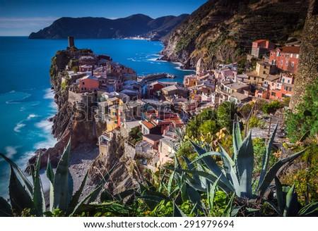 Vernazza, Liguria, Italy. The fishermen village during in winter. - stock photo