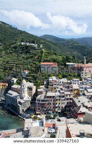 Vernazza, one of five villages at the Cinque Terre, Italy.