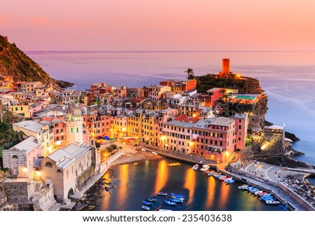 Vernazza village at sunset. Cinque Terre National Park, Liguria Italy. - stock photo