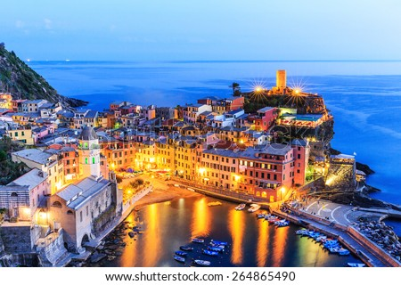 Vernazza village at twilight. Cinque Terre National Park, Liguria Italy - stock photo