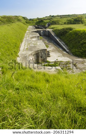 Verne High Angle Battery, remains of Victorian gun emplacements, re-used in World War Two.  Portland, Weymouth, Dorset, England, United Kingdom, Europe. - stock photo