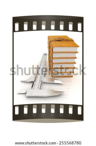 Vernier caliper and leather professional books. Best professional knowledge concept on a white background. The film strip - stock photo