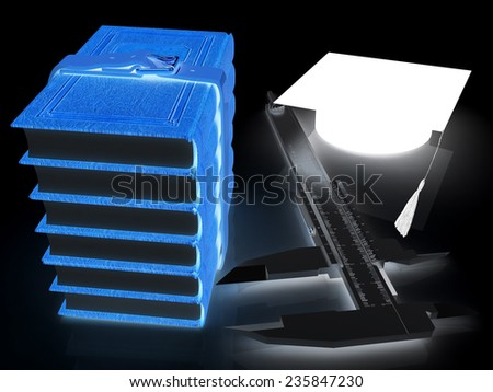 Vernier caliper, books and graduation hat. The best professional edication concept on a black background - stock photo