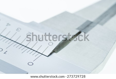 Vernier Caliper Close up Scale of Measurement on a white background - stock photo