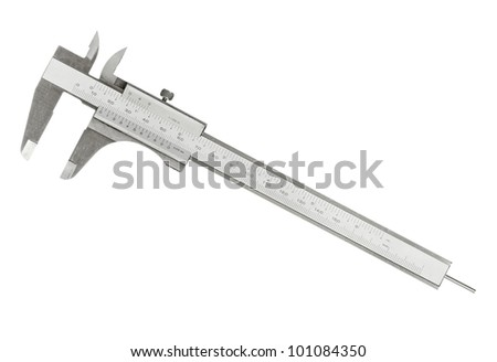 Vernier caliper isolated on white background - stock photo