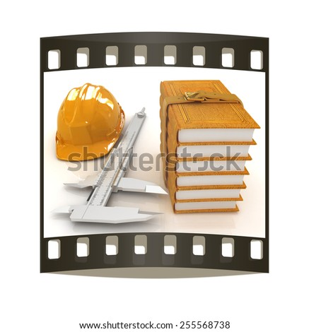 Vernier caliper, leather books and yellow hard hat on a white background. The film strip - stock photo