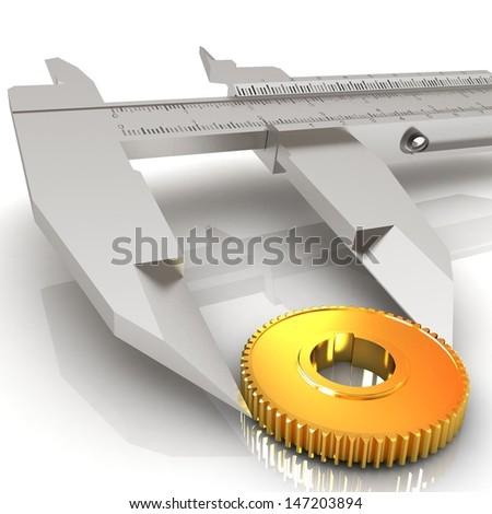 Vernier caliper measures the cogwheel - stock photo