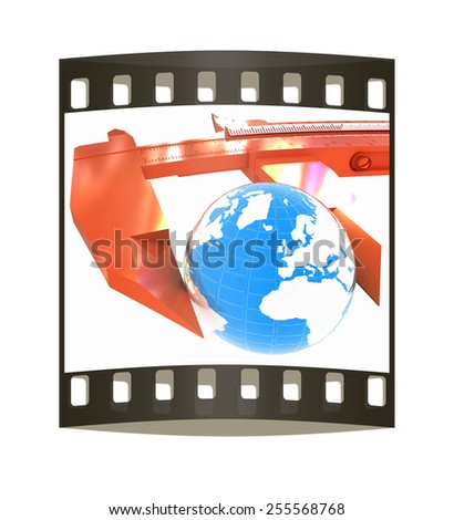 Vernier caliper measures the Earth. Global 3d concept on a white background. The film strip - stock photo
