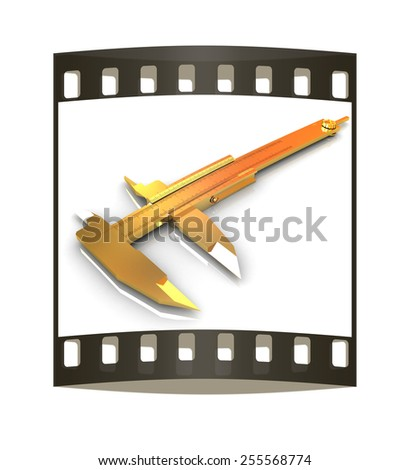 Vernier caliper on a white background. The film strip - stock photo