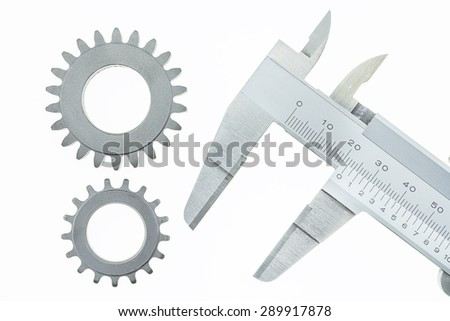 Vernier Caliper with Gear Wheel on a white background - stock photo