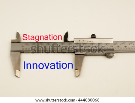 Vernier caliper with word innovation vs stagnation .Antonym concept