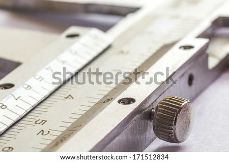 vernier calipers close up with natural lighting - stock photo
