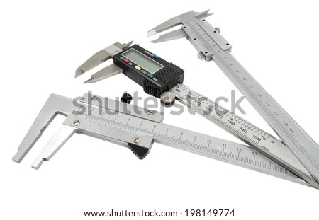 Vernier calipers isolated on white background - stock photo