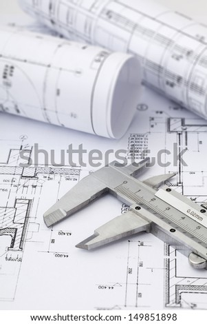 vernier calipers on drawing background - stock photo