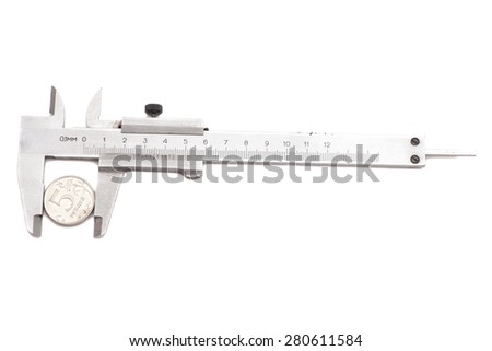 Vernier calipers with  coin isolated on white - stock photo