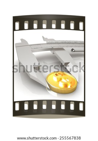 Vernier calipers with coin isolated over white background. The film strip - stock photo