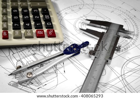 vernier callipers , calculator, compasses, and drawings