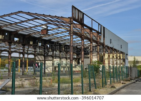 Vernouillet, France - august 12 2015 : ruin of an old factory in indutrial estate