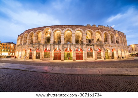 Verona amphitheatre, completed in 30AD, the third largest in the world, at dusk time. Roman Arena in Verona, Italy - stock photo