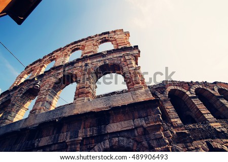 Verona Arena. The famous Roman amphitheater, Piazza Bra, Verona Italy. Old architecture, romantic travel, European vacation and opera concept