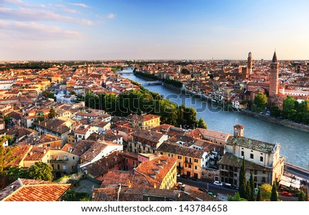 Verona at night - Sant' Anastasia Church and Torre dei Lamberti (Lamberti Tower) - stock photo