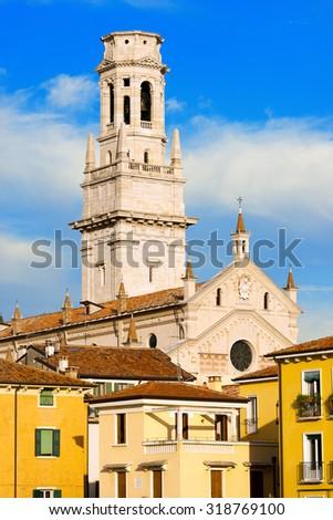 Verona Cathedral - Veneto Italy / Detail of the Verona Cathedral in Romanesque style (1187 - UNESCO world heritage site) - Santa Maria Matricolare - Verona, Veneto Italy - stock photo