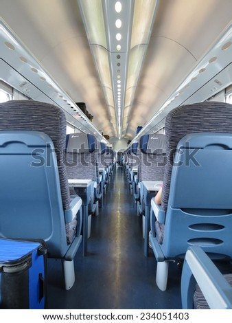 VERONA, CIRCA JULY 2014 - train seats empty useful as travel concept