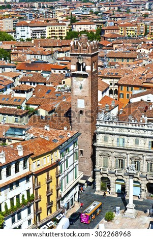 VERONA, ITALY - AUG 5, 2009: view from Torre di Lamberty to old town of Verona. Verona was founded by the romans. - stock photo