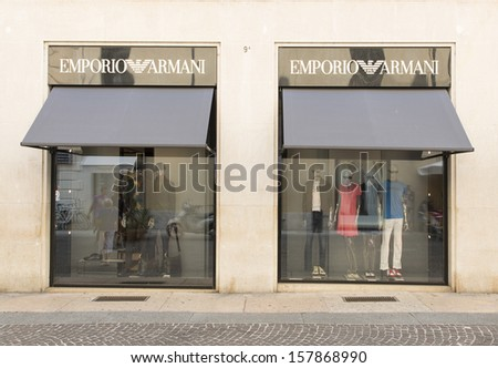 VERONA, ITALY � AUGUST 24: An outlet of Emporio Armani 24 August, 2013. Introduced in 1981, the line has featured David Beckam, Christiano Ronaldo and Rihanna in its campaigns. - stock photo