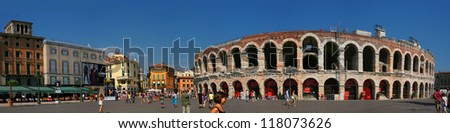 VERONA - ITALY AUGUST 11: Piazza Bra, often shortened to Bra, is the largest piazza in Verona, Italy, with some claims that it is the largest in the country on August 11 2011, Verona, Italy