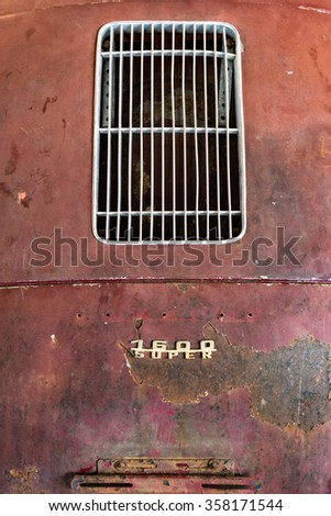 VERONA, ITALY - CIRCA MAY 2015: Detail of old Italian rusty car to be restored. - stock photo