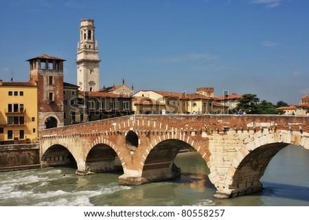 Verona Italy city view - stock photo