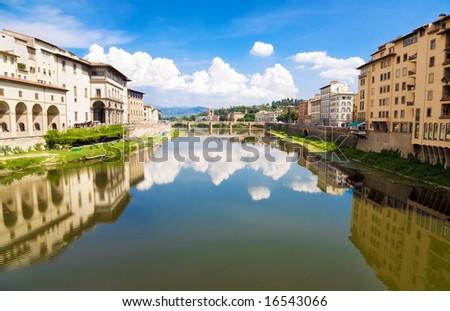 Verona Italy cityscape. View from bridge. - stock photo