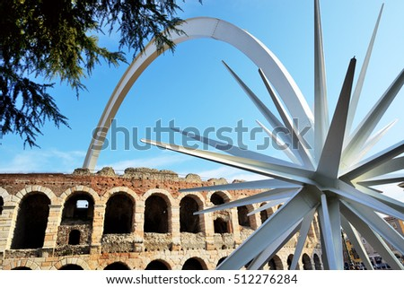 VERONA, ITALY - DECEMBER 15: The comet, designed by architect and designer Rinaldo Olivieri: 70 meters high, weighing 78 tons on December 15, 2015 in Verona, Italy