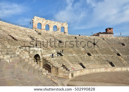 VERONA, ITALY - DECEMBER 15: View of Verona Arena cavea, an ancient roman amphitheater still in use on December 15, 2015 in Verona