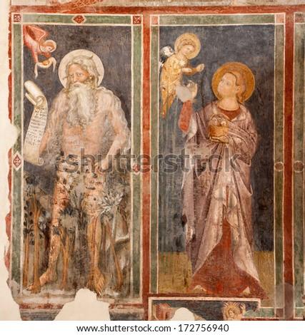VERONA, ITALY - JANUARY 28, 2013: Fresco of Prophet of church San Fermo Maggiore from 13. cent.  - stock photo