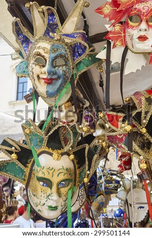 VERONA, ITALY - JULY 13: Detail of Venetian carnaval masks in for sale in shop. July 13, 2015 in Verona.