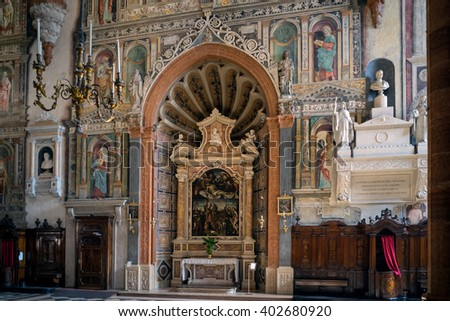 VERONA, ITALY - MARCH 24 : Interior View of Verona Cathedral in Verona Italy on March 24, 2016 - stock photo