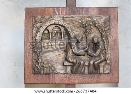 "VERONA, ITALY - MARCH 19: Part 8/10 of the sculptures of Romeo and Juliet by Sergio Pasetto in Tomb of Juliet on March 19, 2015 in Verona. It is called ""Friar Lawrence delivers the phial"". - stock photo"